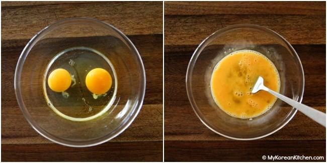 beaten eggs in a bowl