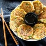 Tuna pancakes served on a plate