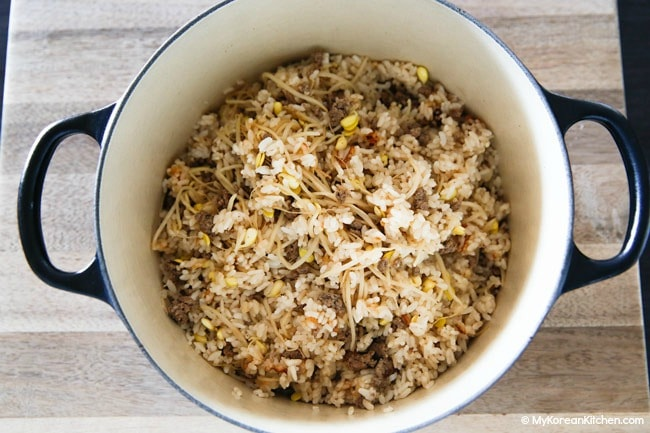 Stove top cooked kongnamul bap (soybean sprout rice)