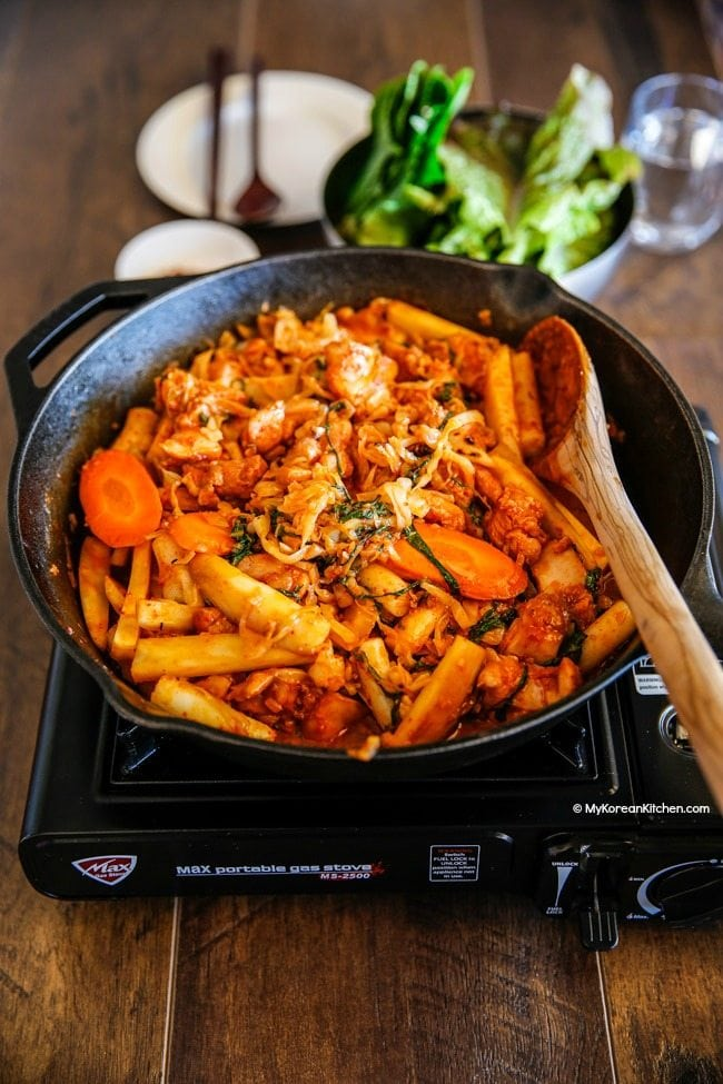 Dak Galbi (Korean spicy chicken stir fry) tastes the best when cooked in a cast iron pan! | MyKoreanKitchen.com