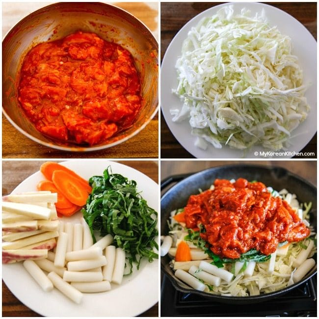 Dak Galbi (Korean spicy chicken stir fry) ingredients
