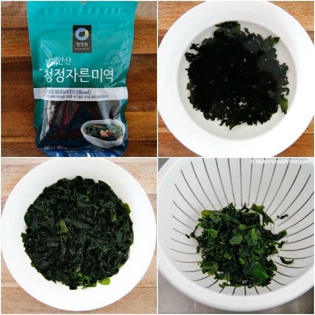 Prepare Korean seaweed for soup