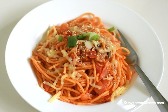 Kimchi Spaghetti with Bacon - My Korean Kitchen