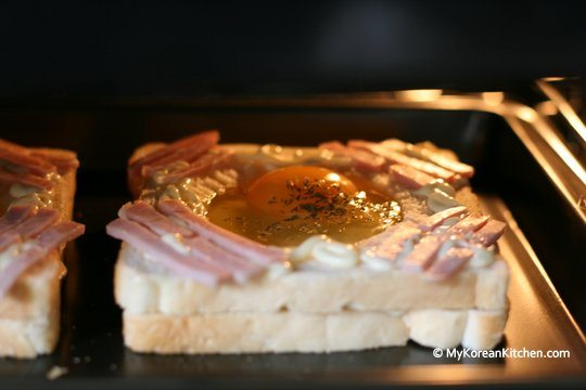 Cooking Korean flag toast in a oven