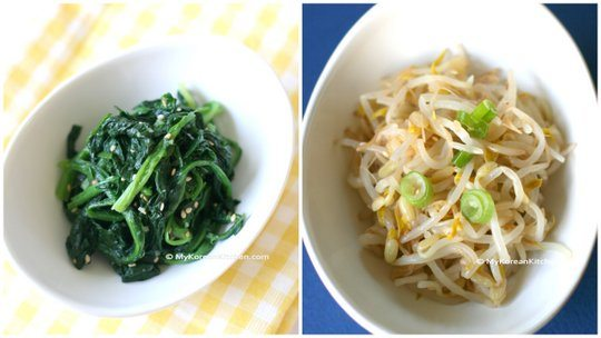 Korean spinach salad and bean sprouts salad