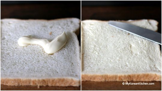 Squeezing and spreading mayonnaise on bread