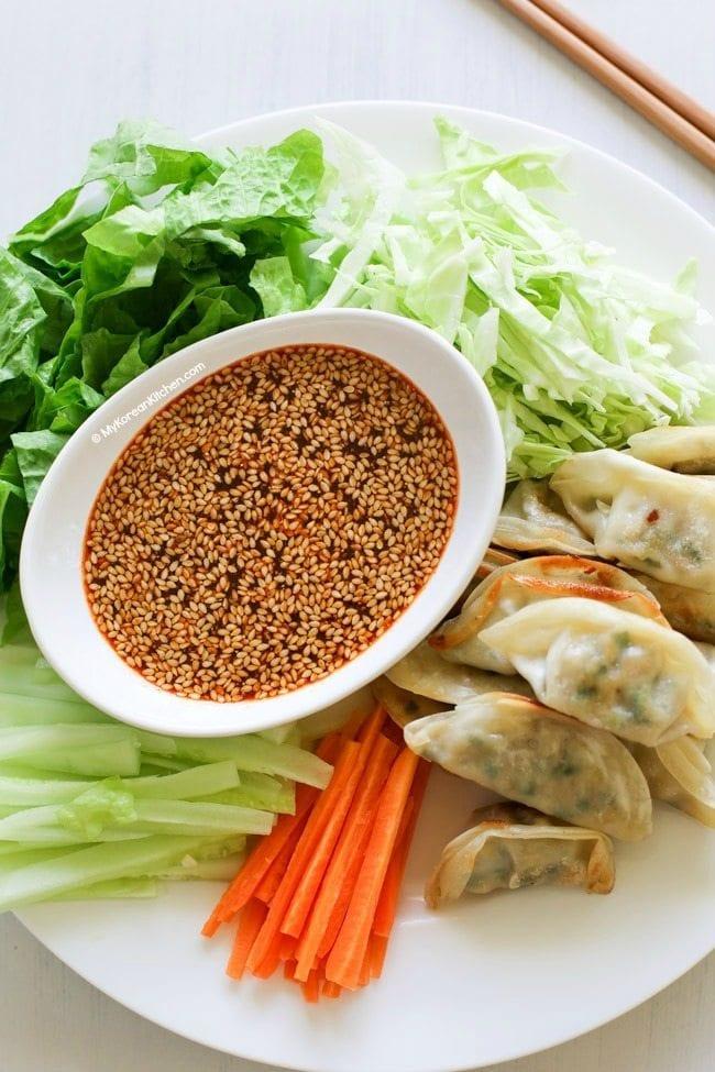 Deconstructed sweet and spicy Korean dumpling salad | MyKoreanKitchen.com