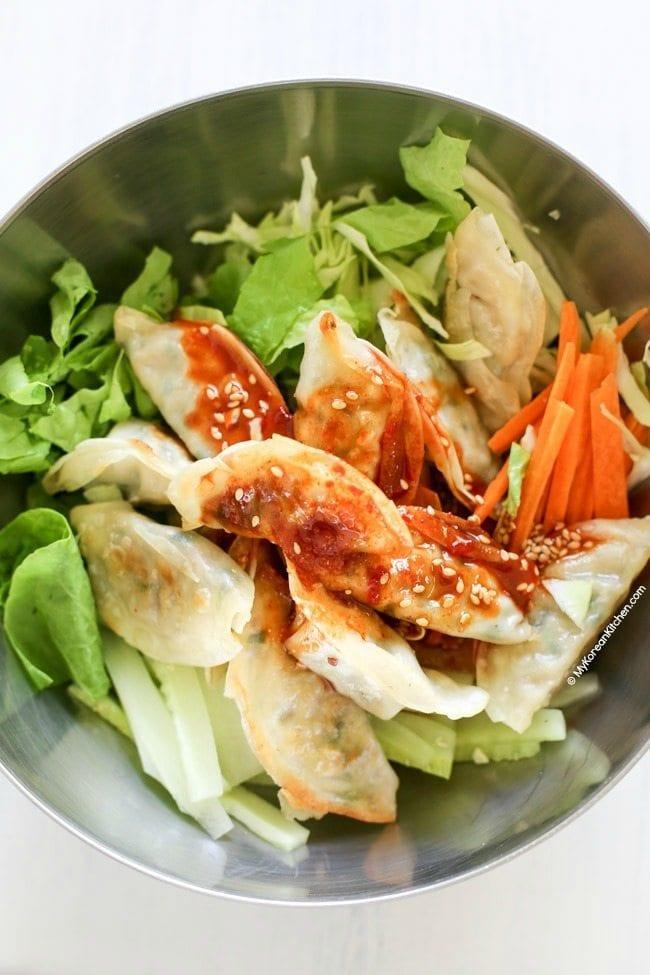 Sweet and Spicy Korean Potsticker Salad | MyKoreanKitchen.com