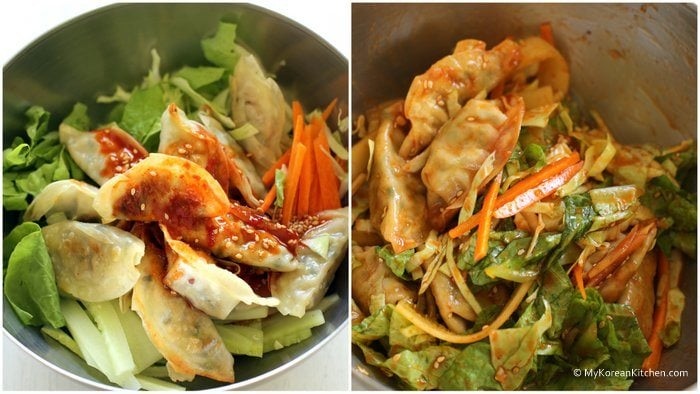 Bibim Mandu - Korean dumplings and fresh salad mixed with spicy, tangy and sweet dressing. Turn around your plain instant dumplings into something special! | MyKoreanKitchen.com