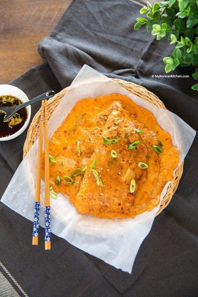 Korean Kimchi Pancakes (Kimchi Buchimgae) | MyKoreanKitchen.com