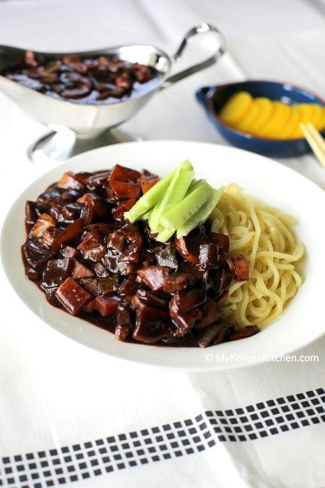Korean Black Bean Sauce Noodles (Jajangmyeon)