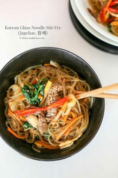 Japchae (Korean Glass Noodle Stir Fry)