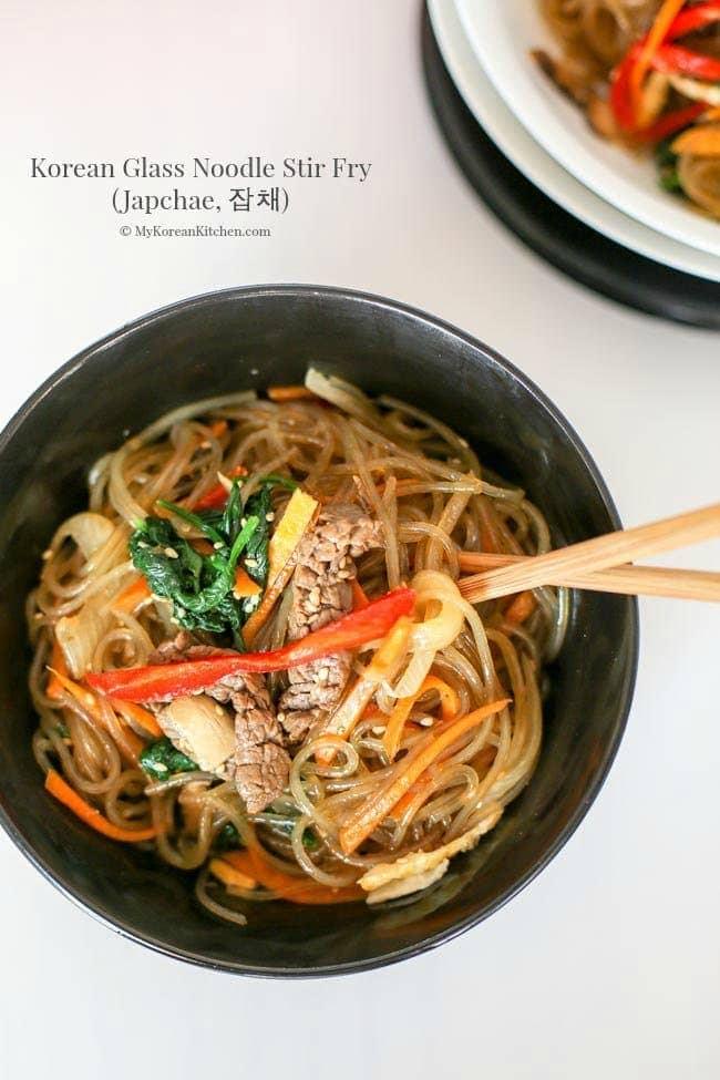 Korean Glass Noodle Stir Fry Japchae My Korean Kitchen