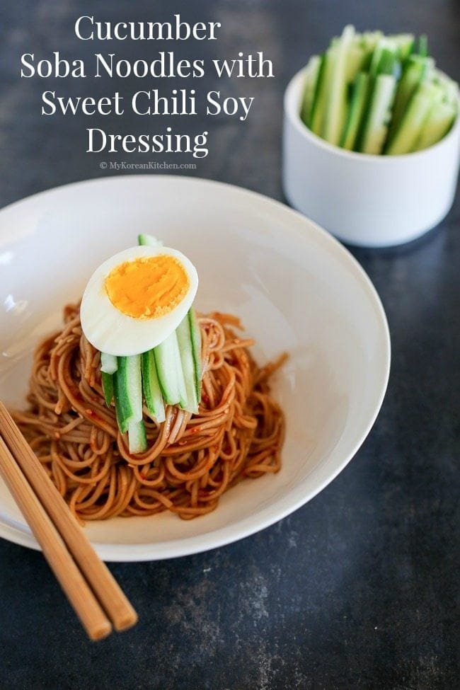 Cucumber Soba Noodles with Sweet Chili Soy Dressing. Delicious, light, refreshing and more-ish. A perfect summer dish.   MyKoreanKitchen.com