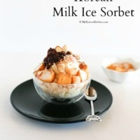 Korean Milk Ice Sorbet: Injeolmi Bingsu - A perfect Korean summer dessert. Loaded with delicious dessert toppings! | MyKoreanKitchen.com