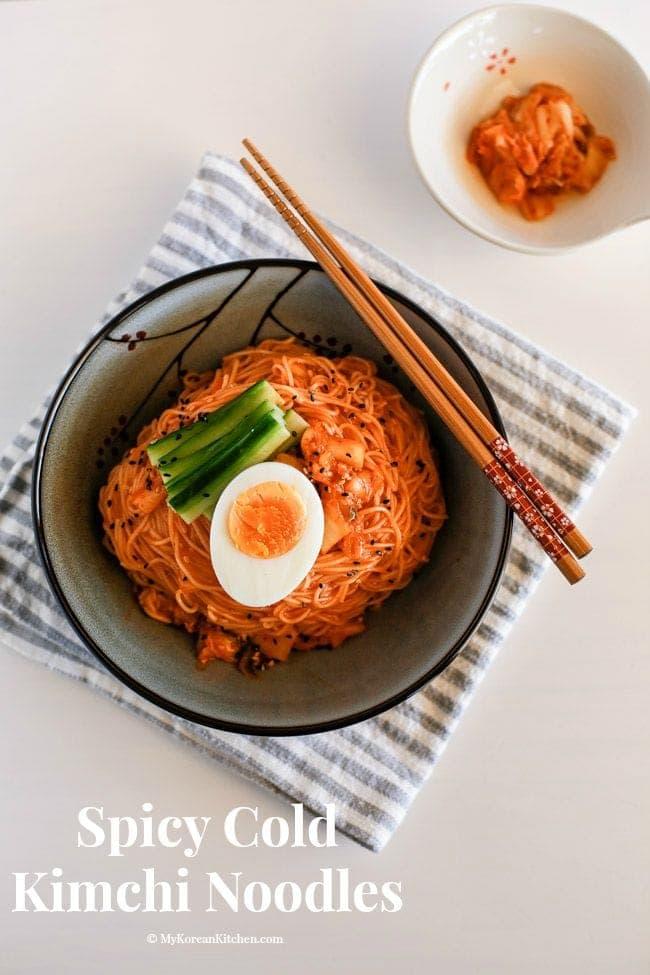 Spicy Cold Kimchi Noodles - My Korean Kitchen