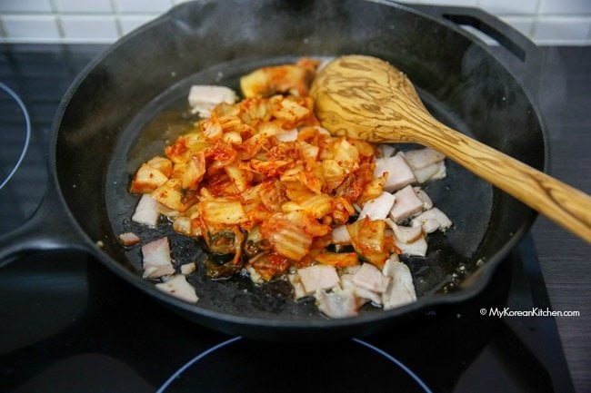 Stir frying kimchi | MyKoreanKitchen.com
