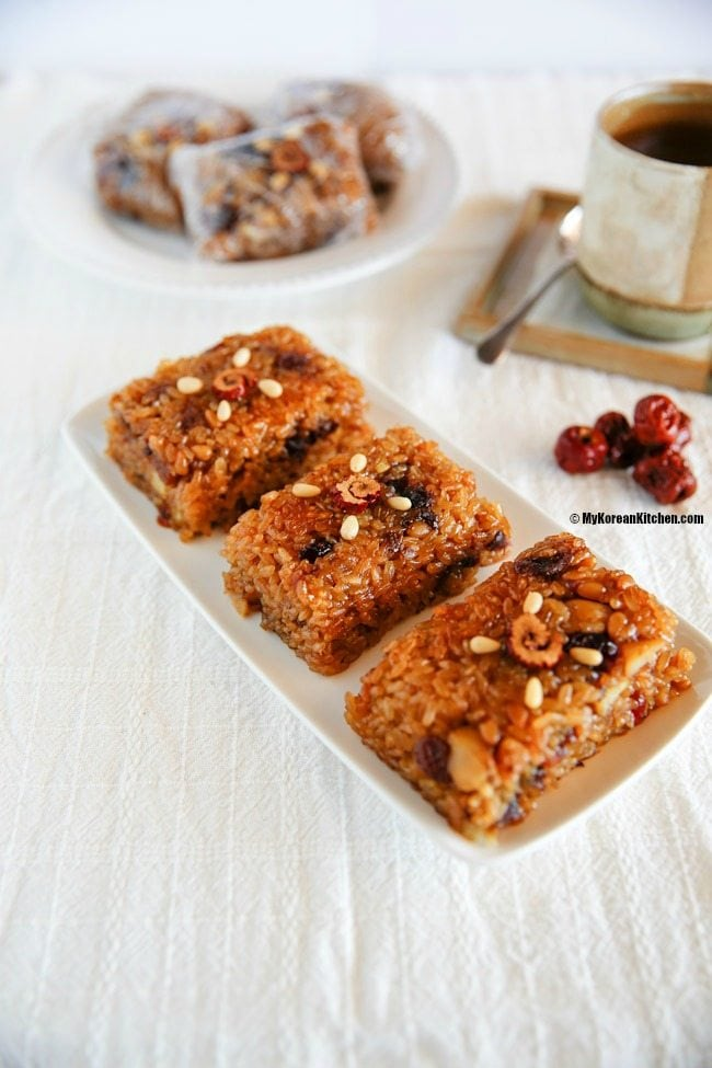 Korean Sweet Rice with Dried Fruit and Nuts (Yaksik)   MyKoreanKitchen.com