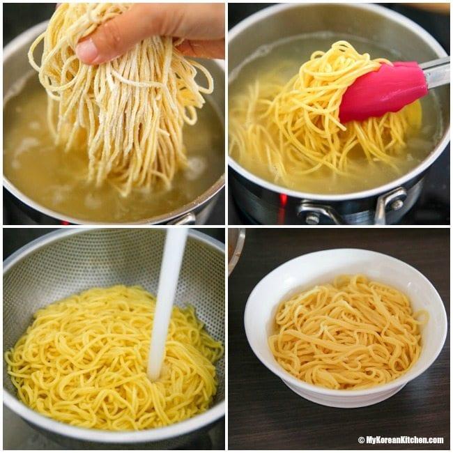 Homemade Korean spicy seafood noodle soup (Jjamppong) - Boiling noodles| MyKoreanKitchen.com