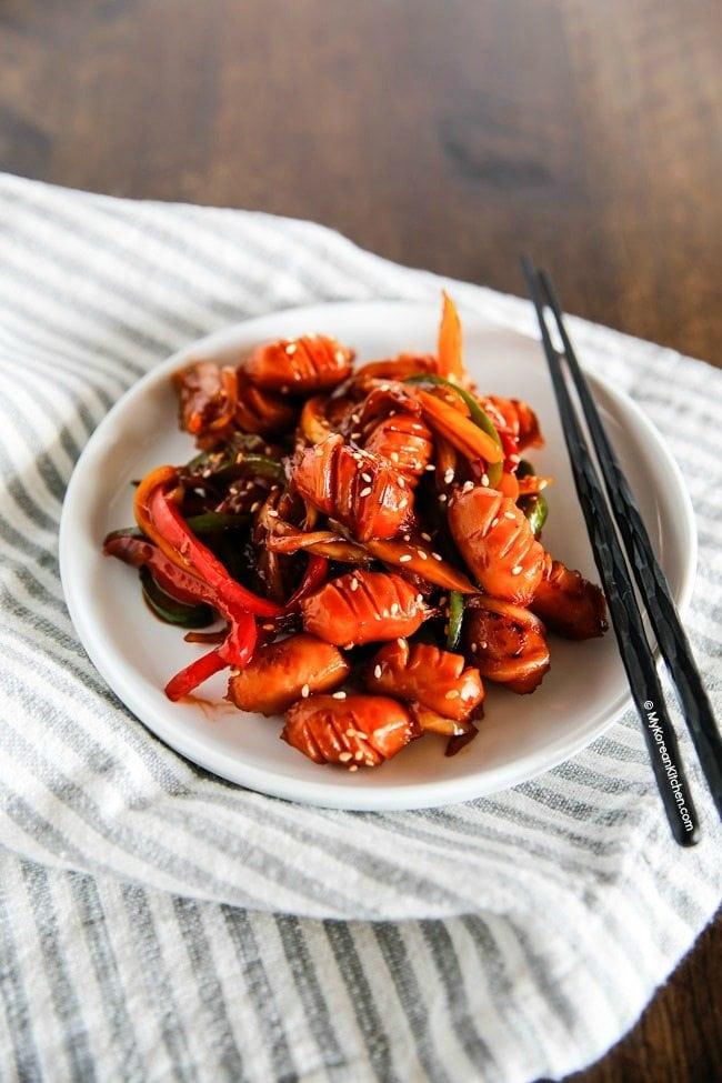 Korean Style Sausage Stir Fry | MyKoreanKitchen.com