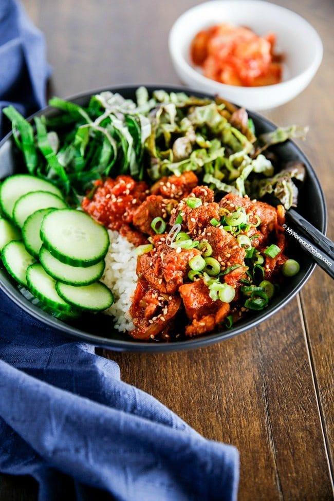 Spicy Pork Bulgogi Rice Bowl - It's addictively delicious! | MyKoreanKitchen.com