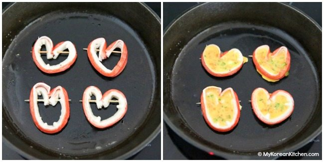 Cooking heart shaped imitation crab omelettes