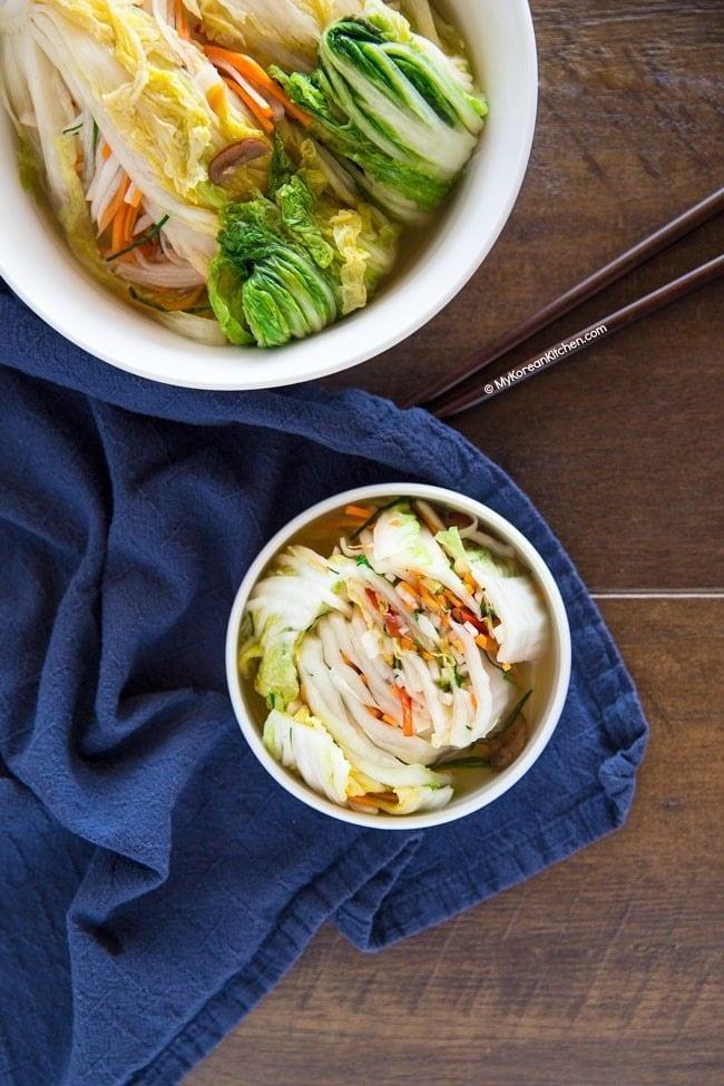 How to Make White Kimchi (Baek Kimchi) | MyKoreanKitchen.com
