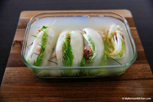 White kimchi (baek kimchi) in brine