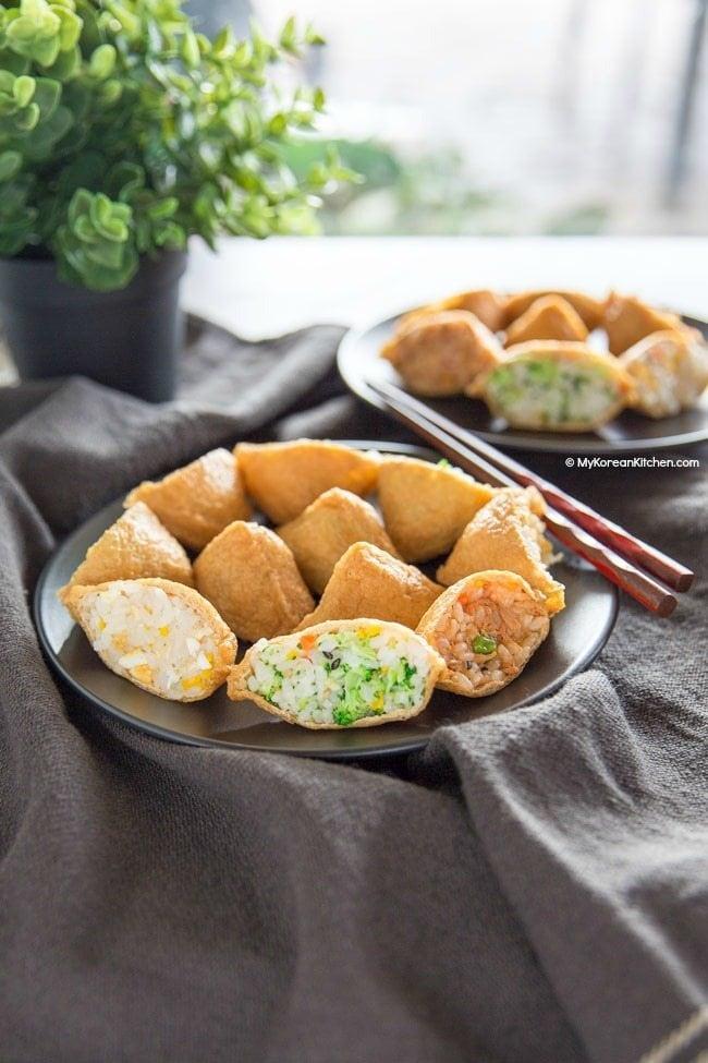 Yubuchobap (Korean Style Inari Sushi) | MyKoreanKitchen.com
