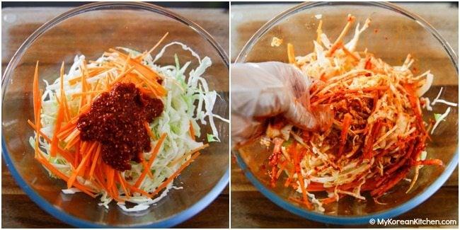 Mixing Korean coleslaw ingredients