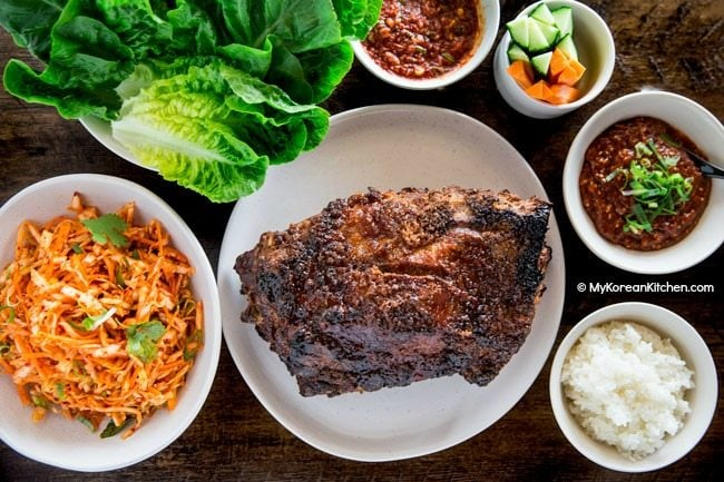 Spicy Korean coleslaw served with Korean roast pork