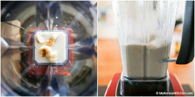 Blending banana milk ingredients in a Vitamix