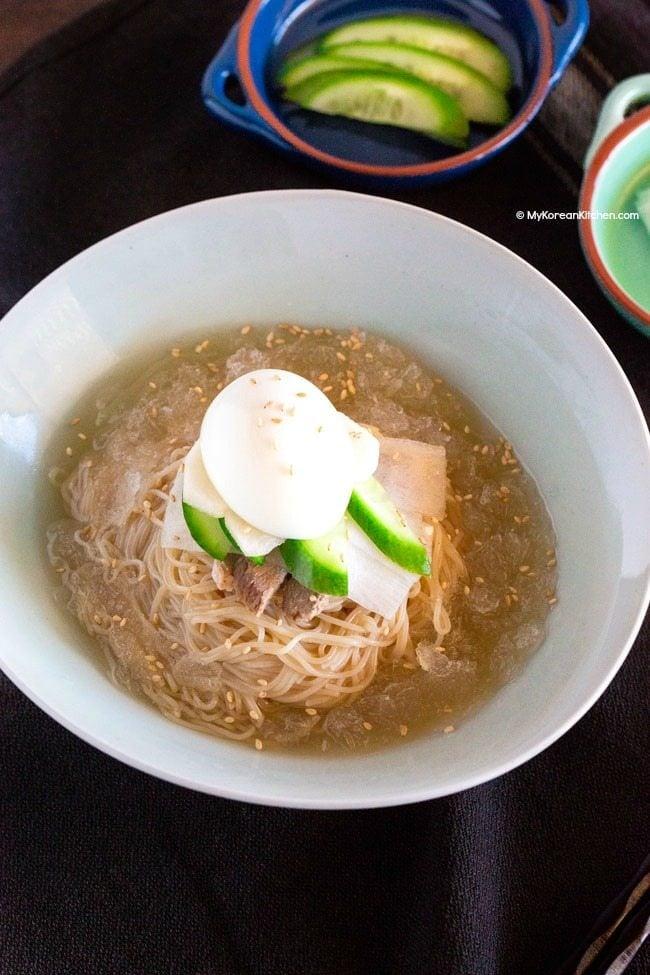 Mul Naengmyeon (Korean Cold Noodle Soup) | MyKoreanKitchen.com