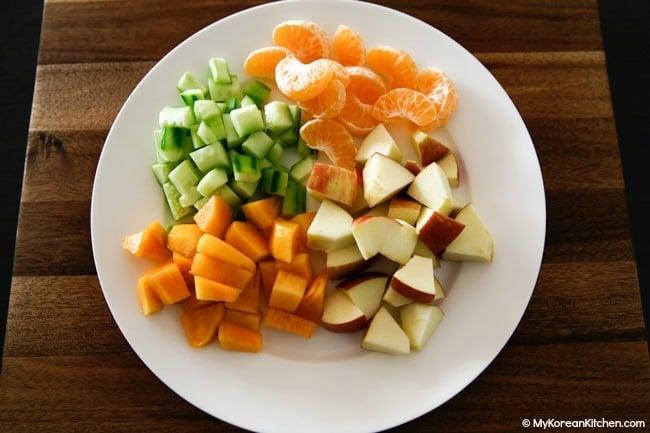 Chopped ingrediens for korean fruit salad