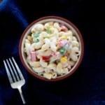 Macaroni salad in a small bowl