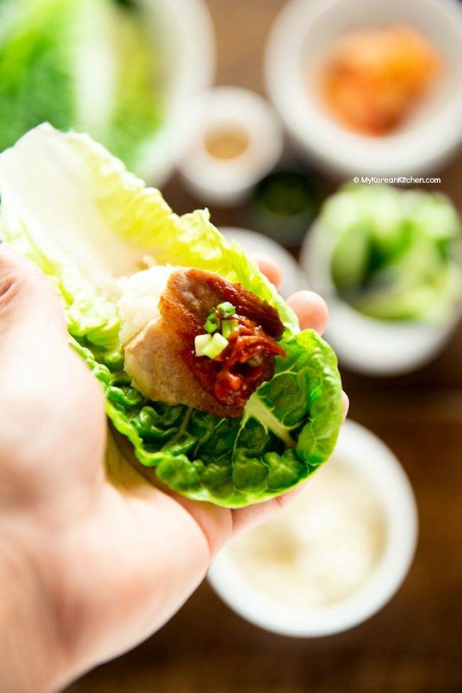 Ssamjang on a lettuce leaf