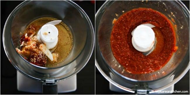 Blending ssamjang ingredients in a food processor