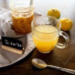 Yuja tea (Korean citron tea) in a clear mug
