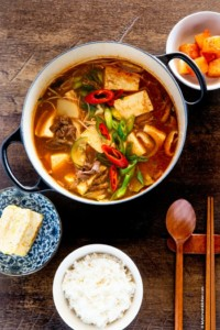 Doenjang Jjigae with Korean rice and side dishes
