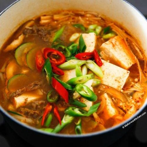 Beef Doenjang Jjigae in a heavy pot
