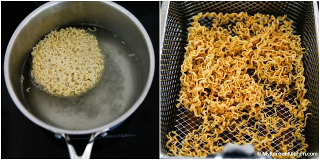 Boiling and deep frying nuclear fire noodles