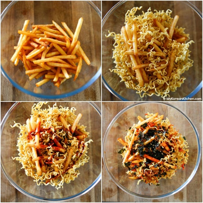 Assembling deep fried fries with noodles and sauces