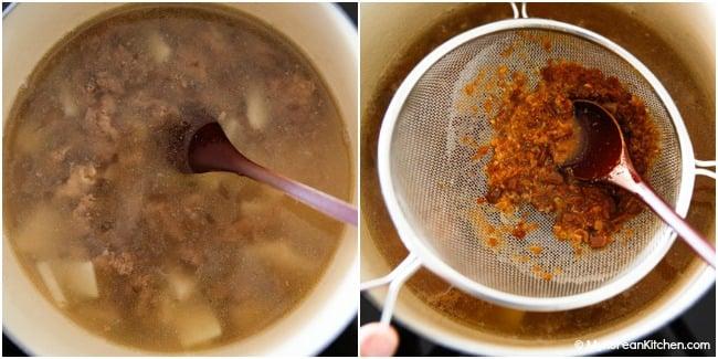 Adding rice water and doenjang jjigae sauce