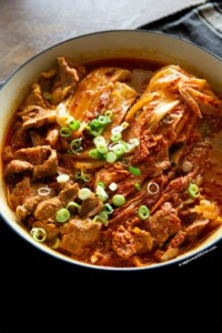 braised kimchi and pork in a braising pot