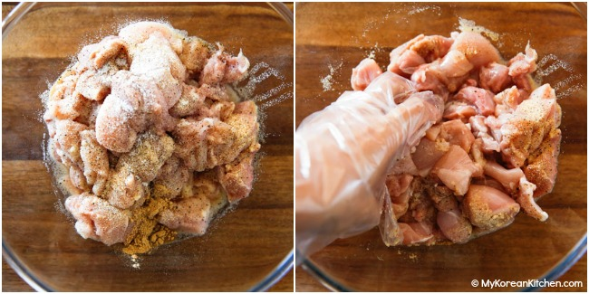 Marinating chopped chicken with seasoning