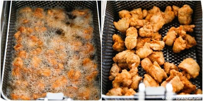 Double fried chicken in deep fryer