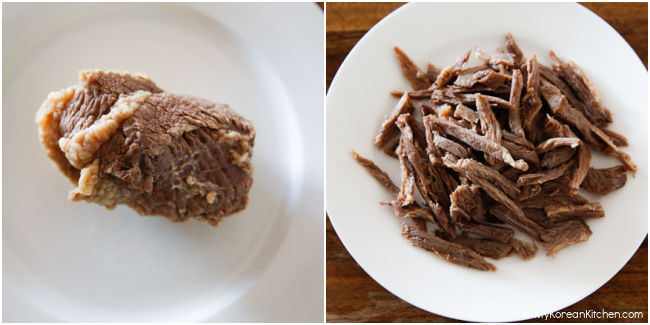 Shredded beef brisket on a plate