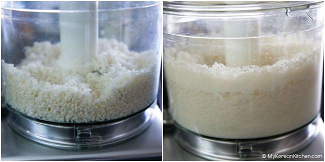 Grinding short grain rice in a food processor