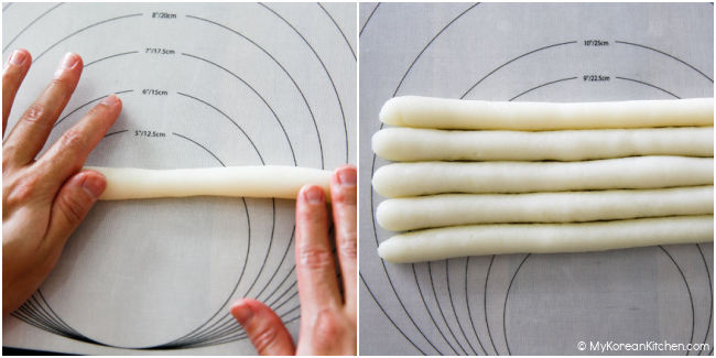 kneading rice cakes into a cylinder shape
